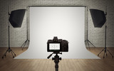 Photo studio light setup with digital camera - 78043754