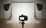 Photo studio light setup with digital camera - 78043754