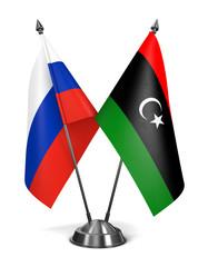 Russia and Libya - Miniature Flags.