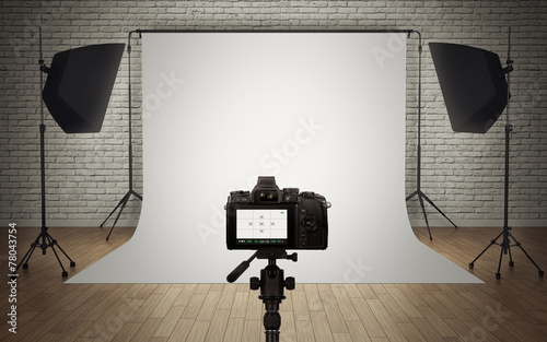 canvas print picture Photo studio light setup with digital camera