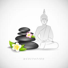 buddha steine und blüten