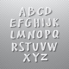 Vector Alphabet Set papper shadow font 3d