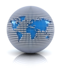 World map icon on globe formed by dollar sign