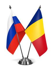 Russia and Romania - Miniature Flags.