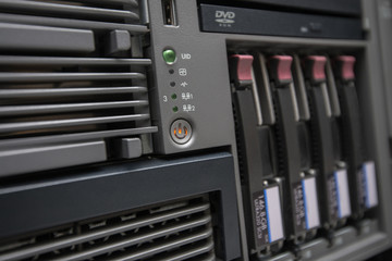 Network Server with Hot Swap Hard Drives installed in a rack