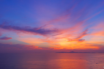 Scenic, Dramatic Sunset over Sea - Pattaya beach, Thailand