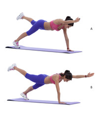 Plank with diagonal arm and leg lift