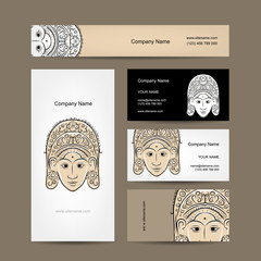Wooden mask of indonesian dancer woman, sketch for your design