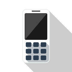 Mobile phone flat icon with long shadow on white background