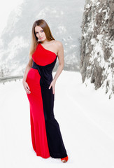 Lady in black-red dress