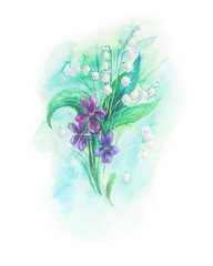 Bouquet of lily of the valley & violets.