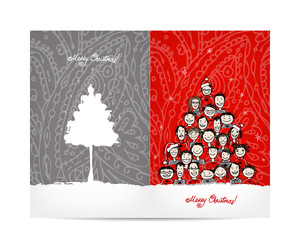 Christmas tree made from group of people, postcard design