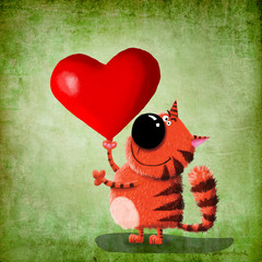 Red cat with heart.