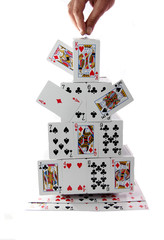 A house of cards on a white background.