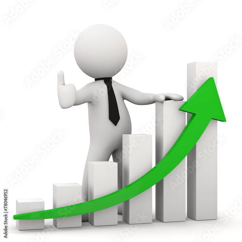 omino bianco OK con grafico crescita - 78046952