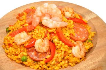 Prawn And Chorizo Paella In Wood Bowl