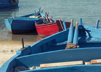 Blue and red rowing boats on shore and in water