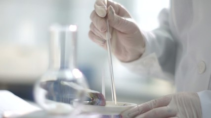 preparing a sample in a flask for chemical analysis