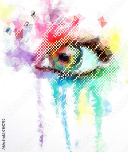 low poly double exposure  beautiful eyes in geometric styling © Egor Lisovskiy