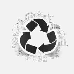 drawing business formulas. recycle sign