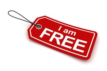 I am free tag, 3d render