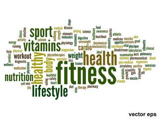 Vector conceptual fitness health word cloud