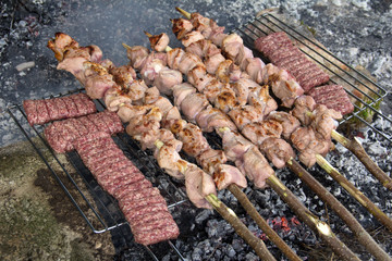 Pork kebab with onion and spice on the grill.