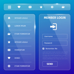 transparent mobile user interface on blue