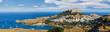 Leinwandbild Motiv Panorama of the Lindos acropolis in Rhodes