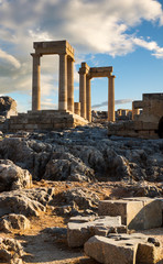 Ruins of ancient temple in Lindos acropolis