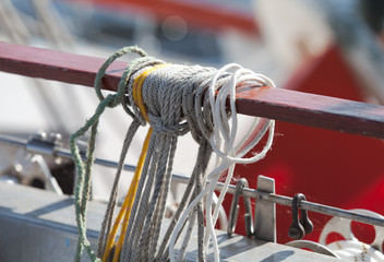 Ropes on a sailing vessel closeup