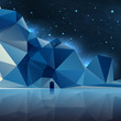 night landscape with mountains low poly geometry vector
