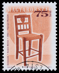 Stamp printed in Hungary shows antique chair