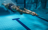 Swimmers at the swimming pool.Underwater photo poster