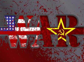 Soviet Union confrontation USA concept Cold War flag