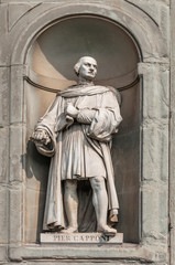 statue of Pier Capponi in Uffizi Alley in Florence, Italy