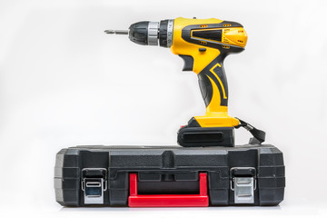 screwdriver with a suitcase for tools on a white background