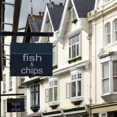 Fish and chips shop  sign