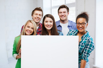 group of students at school with blank board