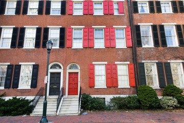 Colorful brick townhouses on Washington square, Philly