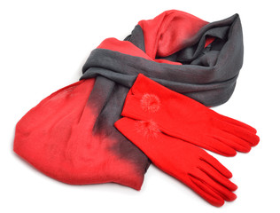 Stylish woman red gloves and a grey scarf isolated on white