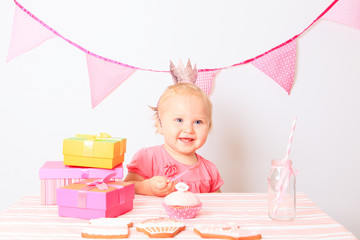 happy little girl at birthday party