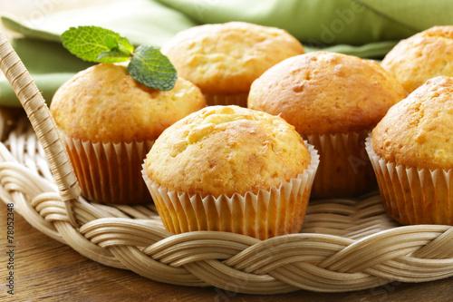 homemade pastries, sweet vanilla cupcakes for breakfast - 78052348