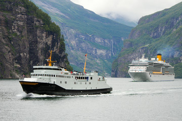 Ships in fjord, Norway.