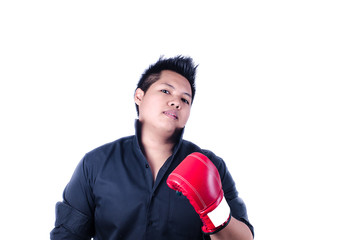 businessman with red boxing glove ready to fight with problem, b