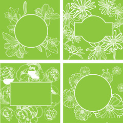 Vector set of organic natural frames