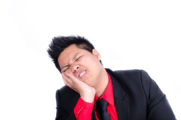 freak out of stressed manager sleeping at the office