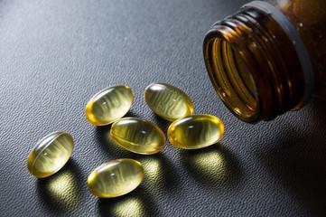 Omega 3 fish oil capsules.