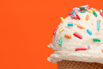 ice cream with topics on colorful background