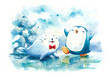 happy penguin and seal in Northpole water color illustration